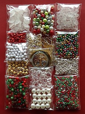 Xmas Jewellery Making Kit Bulk 15 Bags Craft Bead Findings Christmas Colours