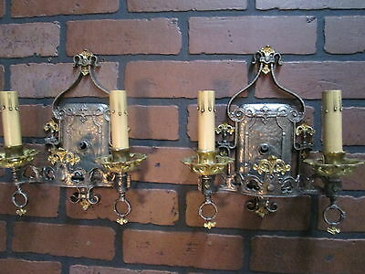 Antique HALCOLITE Pair Nickeled Wall Sconces A & C Gothic Spanish Revival A-1