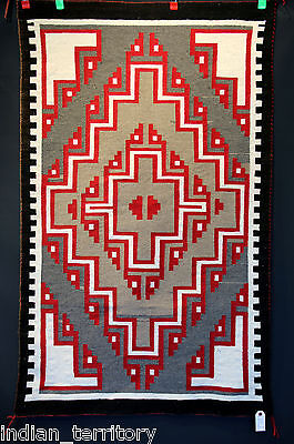 FINE, Tight Canvas-like Weave Navajo 3x5 Klagetoh Rug ,Excellent cond, Mid-20thc