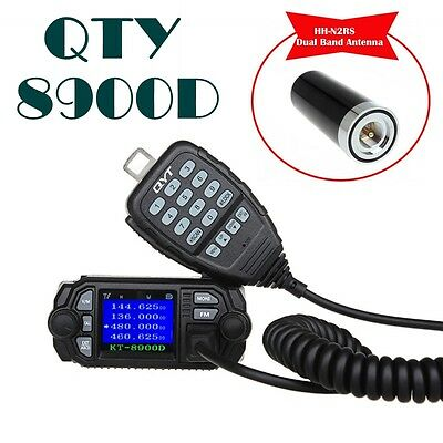 QYT KT- 8900D Dual Band VHF UHF 25W 4-Standy Mobile Radios MIC w/HH-N2RS Antenna