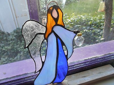 Staineed Glass Window Panel Suncatcher Guardian Angel Artist Signed