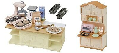 3 Sylvanian Families Sets -  Island Kitchen and Kitchen Cupboard Sets