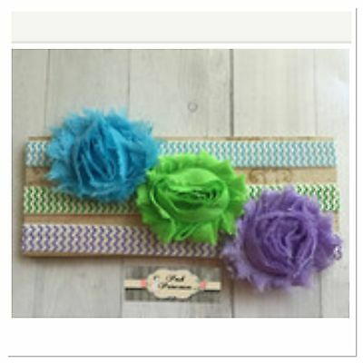 Baby Headband, 3 Shabby Flower On Chevron Headbands, 3pc Set Any Size