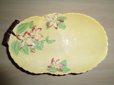 CARLTONWARE SERVING DISH Apple Blossom Pale Yellow Leaf Antique Collectable