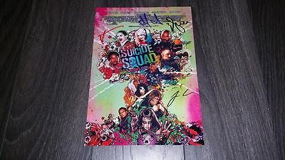 "Suicide Squad Pp Castx4 Signed 12""x8"" A4 Photo Poster Leto Joker Harley Quinn"