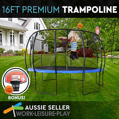 16ft 488cm Trampoline Round Free Basketball Safety Net Spring Pad Cover Ladder K