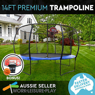 14ft 427cm Trampoline Round Free Basketball Safety Net Spring Pad Cover Ladder K