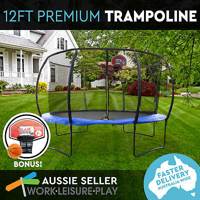 12ft 366cm Trampoline Round Free Basketball Safety Net Spring Pad Cover Ladder K