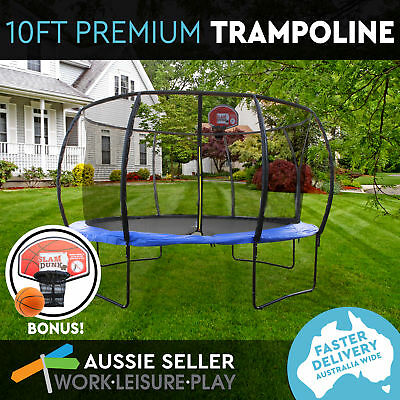 10ft 305cm Trampoline Round Free Basketball Safety Net Spring Pad Cover Ladder K