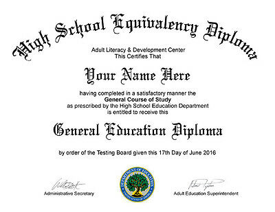 Electronic PDF - Fake GED / High School Diploma