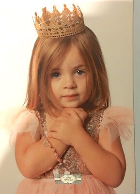 Light Gold Lace Princess Crown, Baby Photo Prop, Baby Shower Decor