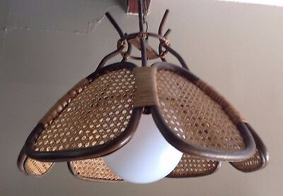 VTG THOMAS INDUSTIES Rattan Wicker Wood Hanging Ceiling Light Fixture Chandelier