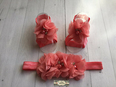 Barefoot Baby Coral Footless Sandals & Headband Set Petal Baby Shoes Flower Shoe