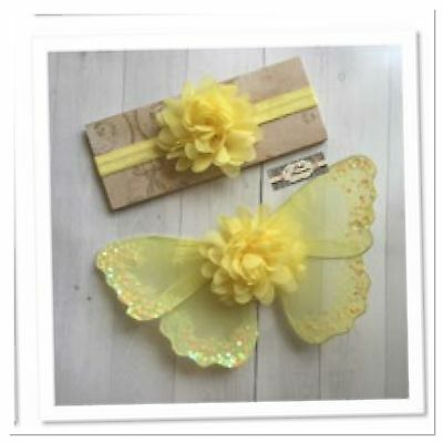 Newborn Baby Girl Yellow Glitter Angel Wings And Flower Headband Set