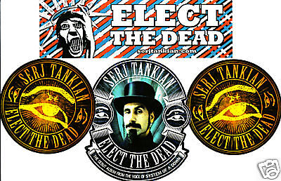 SERJ TANKIAN System Of A Down 4 STICKERS/3 STYLES for cd Elect The Dead SOAD