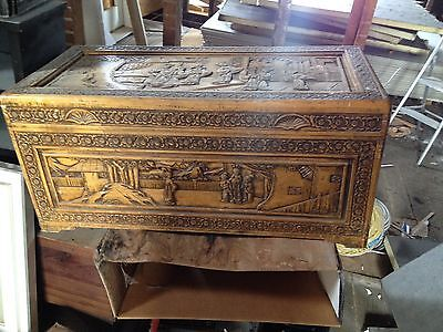 Antique Hand Carved Chinese Camphor Chest Brass hardware