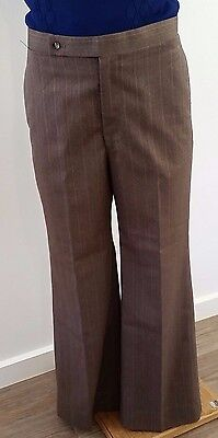 Vintage 1970s BROWN TAN Pin Stripe High Waist Flared Leg Casual Pants size 34in