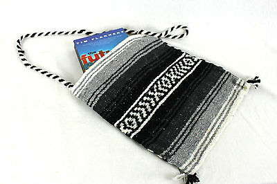 Shoulder Bag Genuine Mexican Boho Hippy Tote Purse Grey Black White Beach Bag