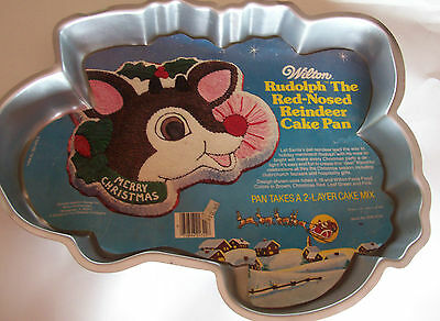 Vintage 1981 Rudolph The Red-Nosed Reindeer Wilton Cake Pan With Original Label
