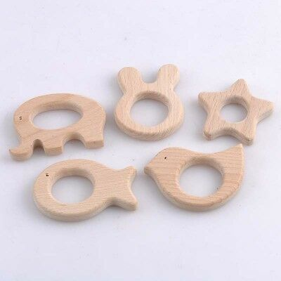 Lot of 5 pcs wooden teether nature baby teething toy organic eco-friendly wood