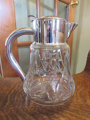Large Vintage Cut Glass And Silverplate Pitcher Made In West Germany