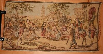Antique Vintage Woven Tapestry Scene Spanish Style Dancing Made in Belgium