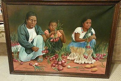"Vintage original oil painting signed ""Bautista"" native american women  39x27"""