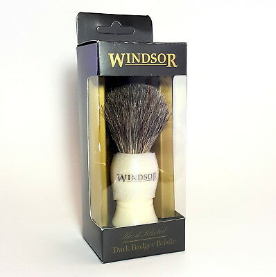 Windsor Wet Shave Shaving Brush Dark Badger Bristle For Men - Made in UK