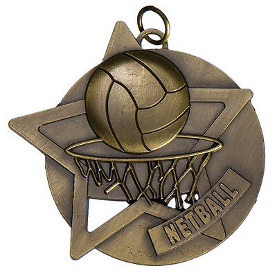 Netball Medal Antique Gold 60mm Engraved / Ribbon FREE