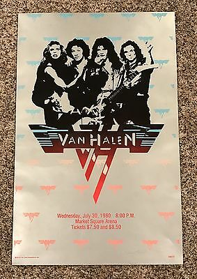"Vintage 1980 Van Halen Concert Poster July 30 David Lee Roth 20""x13"" SCARCE"