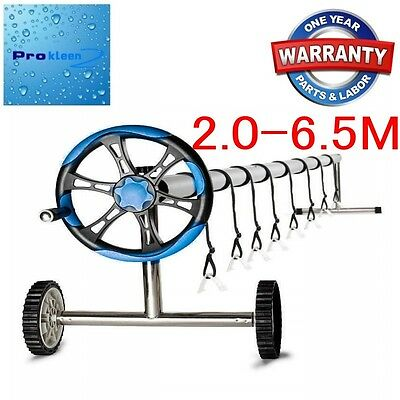 6.5m Adjustable Reel SWIMMING POOL SOLAR BLANKET COVER ROLLER w/Wheels 12M WNTY