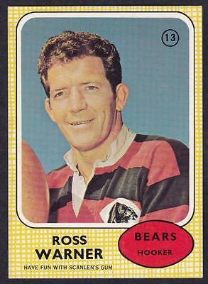 Scanlens 1970 Bears Ross Warner No.13