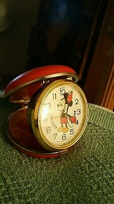 Vintage Walt Disney Productions Mickey Mouse Bradley Compact Travel Alarm Clock
