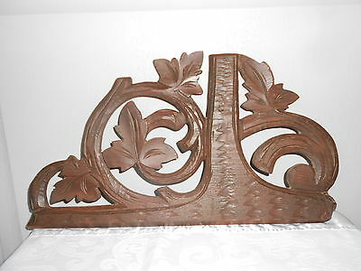 Antique french WOOD CARVED  Plaque Pediment black forest