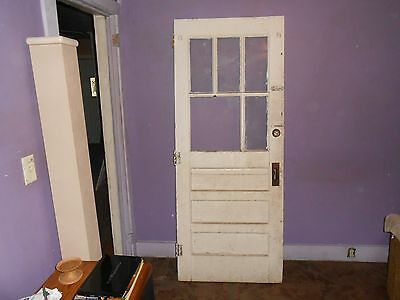 Vintage 3 Panel Unique 5 Glass Pane(With 1 Being Large Exterior Door With Hinges