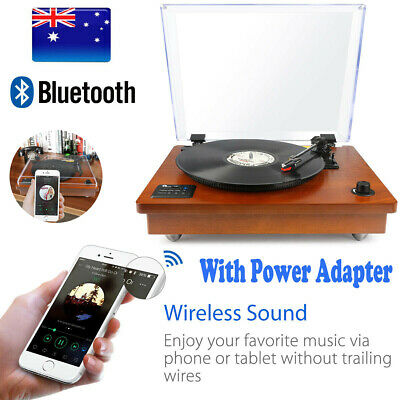 Bluetooth USB Wooden Turntable Vintage Record Player + Vinyl Record Storage Case