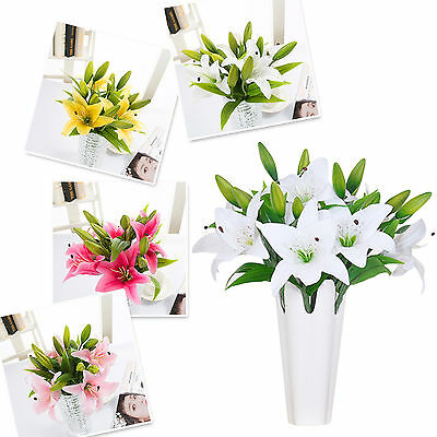 1 Bunch Artificial Latex Real Touch Lily Fake Flower Wedding Home Decor Bouquet