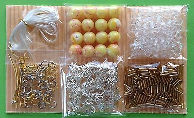 Jewellery Making Kit 6 Bags Craft Bead Findings Jewelry Yellow - Aussie Seller!