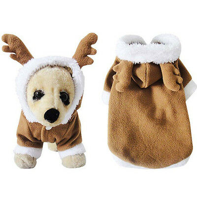 Pet Dog Jumpsuit Winter Hoodie Puppy Cat Warm Clothes Christmas Elk Outfit UK