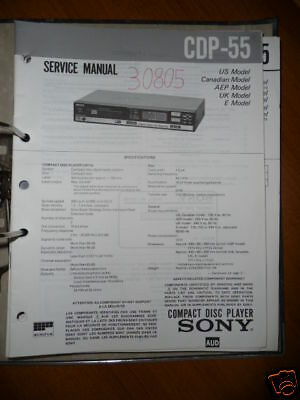 original sony service manual for the cdx 5 cd player • 14 98 service manual for sony cdp 55 cd player original