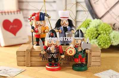 10cm/4'' Vintage Painted Wooden Nutcracker Soldier Table Walnut Xmas Party Gifts