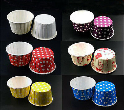 100pcs Paper Cake Cupcake Liner Case Wrapper Muffin Baking Cup Party Wedding SS