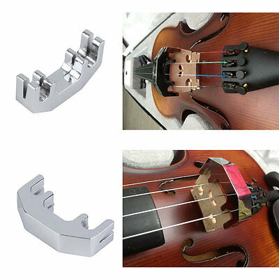 Mini Violin Practice Mute Metal Silver Fiddle Silent Silencer High Quality HR