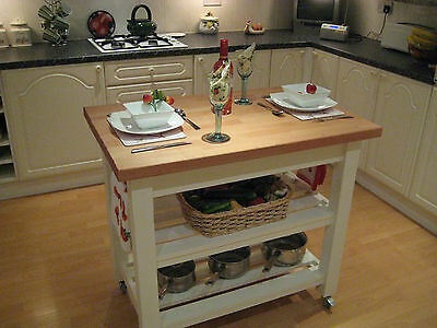 New Shabby Chic Kitchen Butchers block Island Unit Craft Table in Laura Ashley