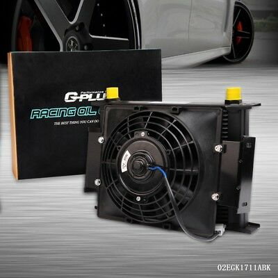 "UK 28 Row 10AN Universal Engine Transmission Oil Cooler+7"" Fixed Cooling Fan Kit"