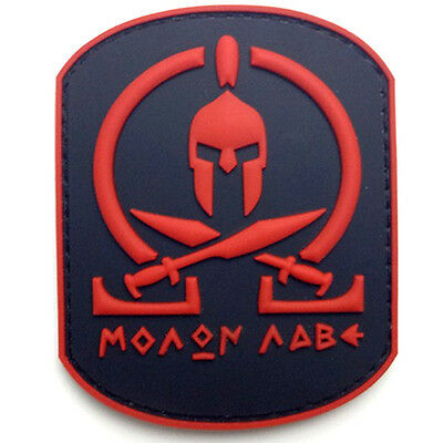 Molon Labe Warrior 3D Pvc Rubber Morale Badge Tactical Hook Loop Patch #2
