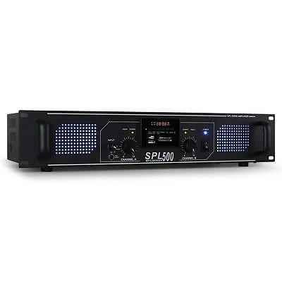 500W Power Amplifier Dj Pa Hi-Fi Mp3 Amp Usb Sd Radio Tuner 2U Blue Led Fx Aux