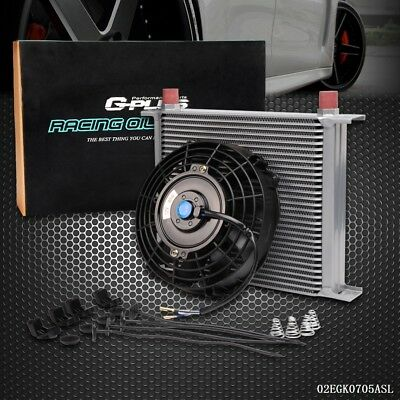 "UK Universal 30 Row Engine Transmission 10AN Oil Cooler + 7"" Electric Fan Kit SL"