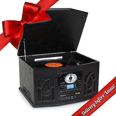 Classic Hifi Stereo System 33 45 Record Turntable Cd Tape Player Fm Radio Usb Sd