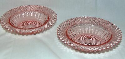 """2 Anchor Hocking MISS AMERICA PINK *6 1/4"""" CEREAL BOWLS*"""